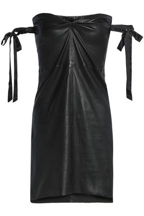 RTA Strapless leather mini dress