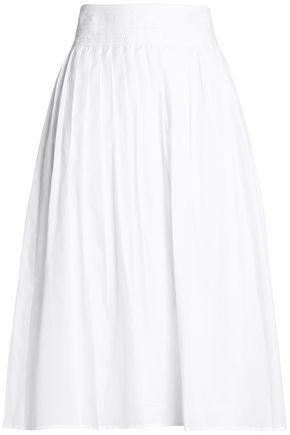 VINCE. Pleated cotton-twill skirt