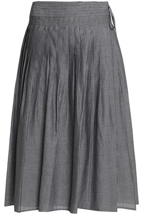 VINCE. Pleated pinstriped cotton-poplin midi skirt