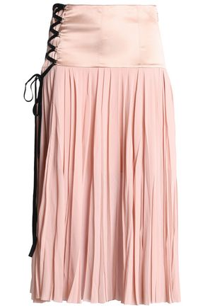 CINQ À SEPT Satin-paneled pleated silk-georgette midi skirt