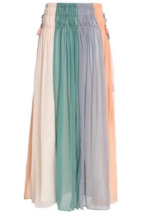 ANTIK BATIK Pleated color-block crinkled georgette maxi skirt