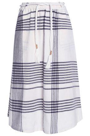 ANTIK BATIK Checked cotton-canvas midi skirt