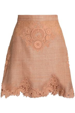 ZIMMERMANN Bowerbird guipure lace-appliquéd silk-canvas mini skirt