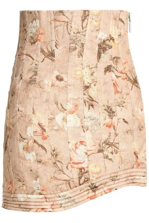 ZIMMERMANN Pleated floral-print linen mini skirt