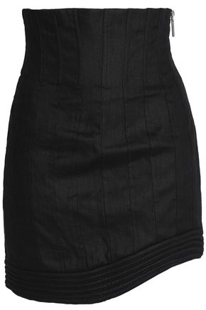ZIMMERMANN Asymmetric pleated linen mini skirt