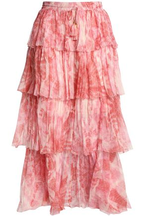 ZIMMERMANN Tiered printed crinkled silk-chiffon midi skirt