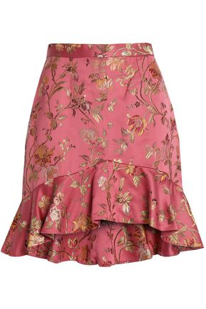 ZIMMERMANN Ruffled brocade mini skirt