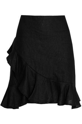 ZIMMERMANN Ruffled floral-print linen mini skirt