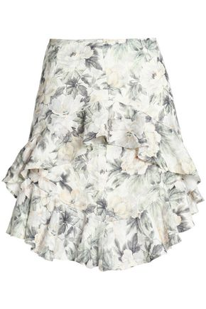 ZIMMERMANN Ruffled floral-print linen mini skirt