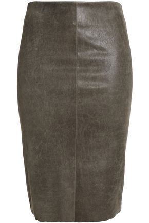 DROMe Distressed leather pencil skirt