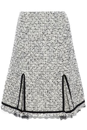 GIAMBATTISTA VALLI Lace-trimmed cotton-blend bouclé-tweed skirt