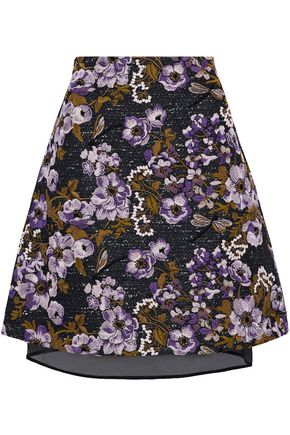 GIAMBATTISTA VALLI Layered embroidered cotton-blend tweed and organza skirt