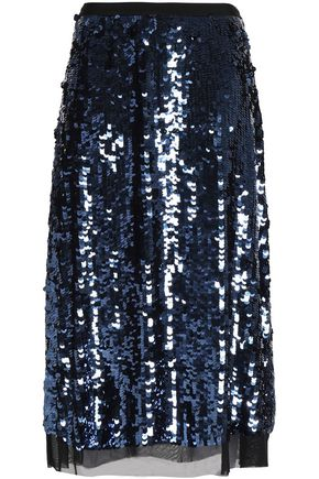 TORY BURCH Sequined tulle midi skirt