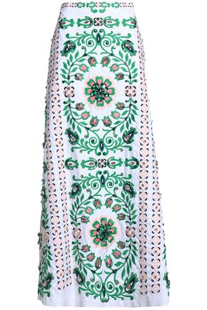 TORY BURCH Crystal-embellished embroidered stretch cotton-poplin maxi skirt