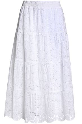 TORY BURCH Broderie anglaise cotton midi skirt