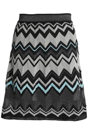 M MISSONI Pleated metallic intarsia-knit mini skirt