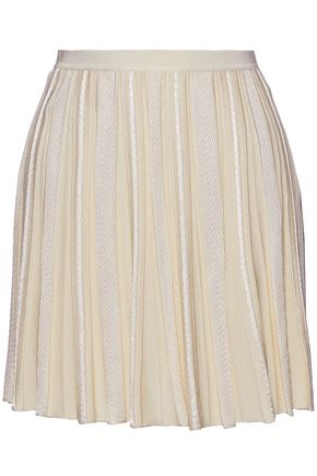 ROBERTO CAVALLI Pleated stretch-knit mini skirt