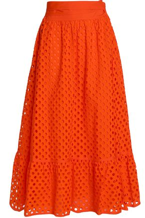 TORY BURCH Hermmosa broderie anglaise cotton midi skirt