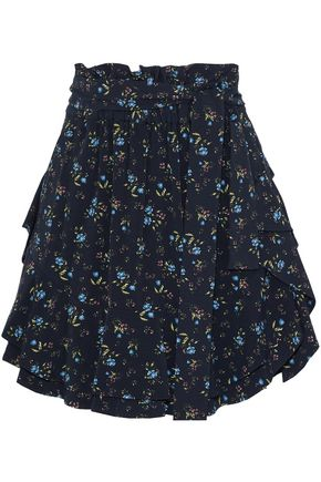 MARISSA WEBB Ruffled floral-print crepe de chine mini skirt