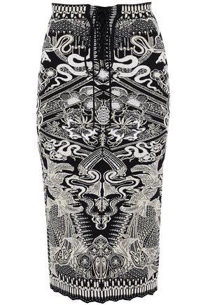 ROBERTO CAVALLI Lace-up metallic jacquard-knit skirt