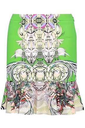 ROBERTO CAVALLI Fluted printed cady mini skirt