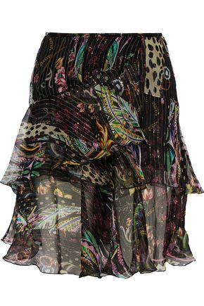 ROBERTO CAVALLI Ruffled floral-print metallic silk-blend chiffon mini skirt