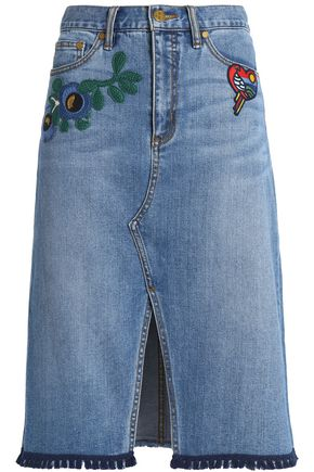 TORY BURCH Bramwell tassel-trimmed embroidered denim skirt