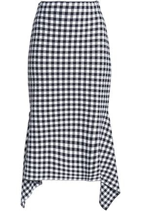 ROSETTA GETTY Draped gingham knitted skirt