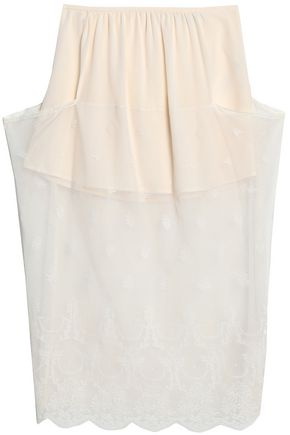 STELLA McCARTNEY Lace crepe de chine midi skirt