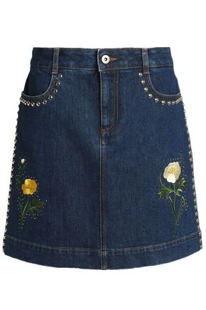 STELLA McCARTNEY Studded embroidered denim mini skirt