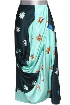 ROKSANDA Cloqué draped printed silk midi dress