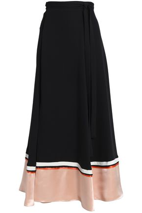 ROKSANDA Satin-paneled silk-blend crepe wrap maxi skirt