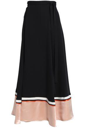 ROKSANDA Satin-paneled silk-blend crepe wrap maxi skirt
