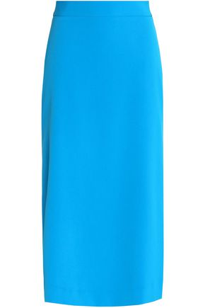 MILLY Stretch-cady midi skirt