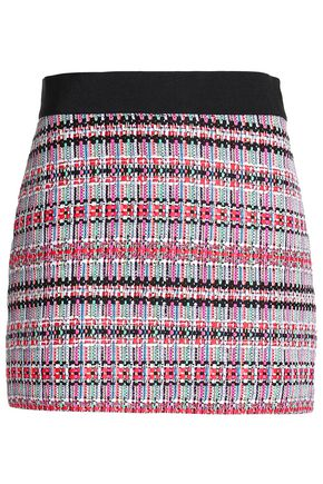 MILLY Grosgrain-trimmed tweed mini skirt