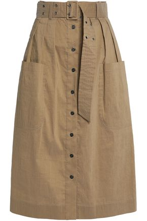 SEA Belted pleated woven skirt