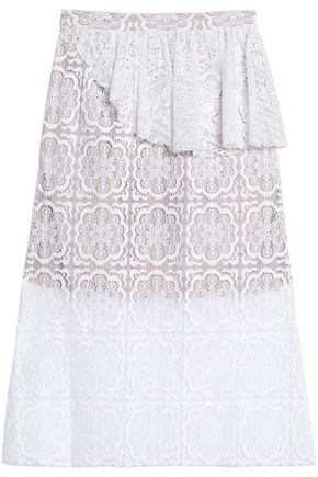 SEA Ruffle-trimmed cotton-blend lace skirt