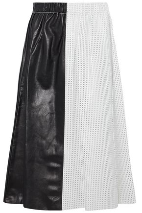 PROENZA SCHOULER Pleated smooth and perforated  leather skirt