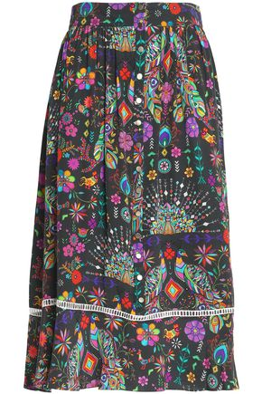 MATTHEW WILLIAMSON Printed silk crepe de chine skirt