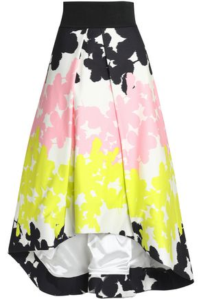 MILLY Printed cotton-blend sateen midi skirt