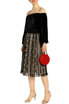 ALICE + OLIVIA Embroidered gauze and lace midi skirt