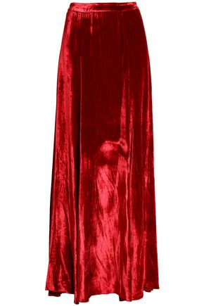 ALICE + OLIVIA Fluted velvet maxi skirt