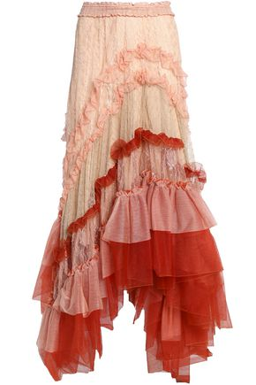 CHLOÉ Asymmetric ruffled tulle and lace maxi skirt