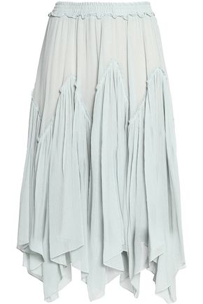CHLOÉ Asymmetric gathered silk-georgette midi dress