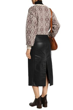 CHLOÉ Button-detailed leather midi skirt