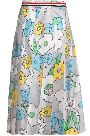THOM BROWNE Floral-print pleated silk midi skirt