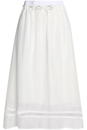 CLU Cotton and silk-blend midi skirt