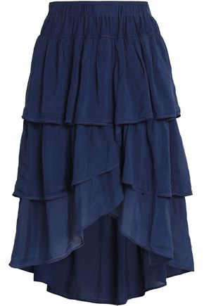 CLU Asymmetric tiered silk-gauze skirt