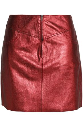 SANDRO Metallic leather mini skirt