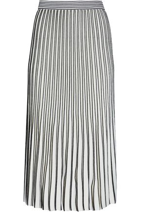 PROENZA SCHOULER Pleated two-tone ribbed-knit midi skirt
